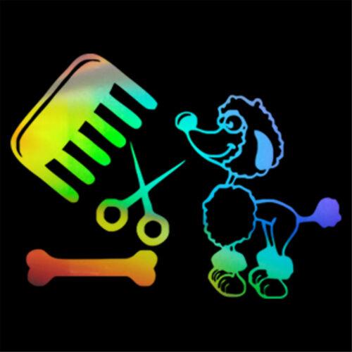 2PCS Funny Car Poodle Dog Comb Scissors and Bone Stickers Car Wall Vinyl Decal