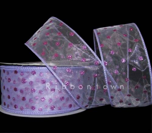 "5 Yards SALE Lavender Pastel Purple Glitter Polka Dot Sheer Wired Ribbon 2 1//2/""W"