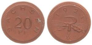Saxony Emergency Money 20 Pfennig Porzellangeld 1921 Thick Schrötling 20% 36563