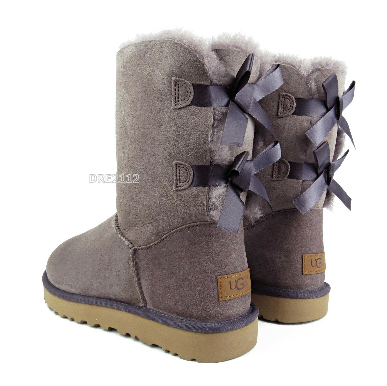 07511b4e0e7 UGG Bailey Bow II Stormy Grey Suede Fur Boots Womens Size 8 ~NIB~