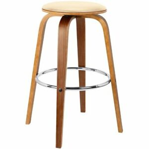 Cool Details About Armen Living Harbor 25 Swivel Counter Stool In Cream And Walnut Lamtechconsult Wood Chair Design Ideas Lamtechconsultcom