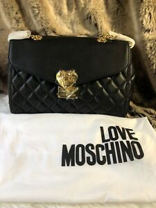 7f1d153078 Image is loading NWT-Love-Moschino-Heart-Magnet-Quilted-Leather-Flap-