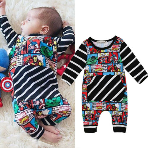 0-2T Toddler Baby Boy Cartoon Romper Bodysuit playsuit Superhero Clothes Outfits