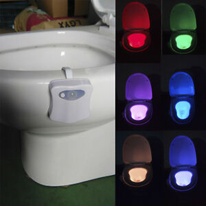 Body sensing 8 color lamp automatic led motion sensor wc toilet bowl night light ebay - Wc c olour grijze ...