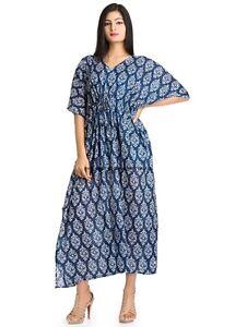 Indian Cotton Kaftan Women Boho Casual Dress Gown Summer Indian Bath Robe Tunic