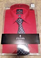 Stafford Regular Fit Red Dress Shirt Set With Tie