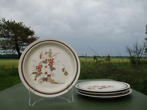 "Set Of 4 Vtg Stoneware Dinner Plates Autumn Bouquet Four Seasons Japan 10 3/4"""