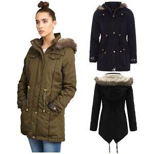 New Womens Plus Size Fur Hood Fish Tail Hem Long Khaki Parka Padded