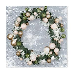 4-Motivservietten-Servietten-Napkins-Weihnachten-Weihnachtskranz-Silber-451