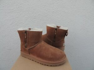 a3e19464504 Details about UGG CHESTNUT CLASSIC MINI DOUBLE ZIP SUEDE/ SHEEPSKIN BOOTS,  US 11/ EUR 42 ~NIB
