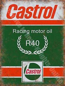 Castrol R Racing Motor Oil, 135 Petrol Old Vintage Garage, Large Metal Tin Sign