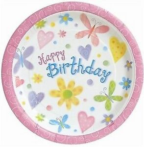 Girl-Birthday-Party-Supplies-034-Cute-Birthday-034-Butterfly-Flowers-Dinner-Plate-8pk