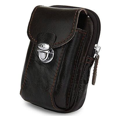 DARK COFFEE WAIST BAG PHONE CASE BUCKLE MEN'S PURSE LEATHER BELT MINI BAG J.M.D