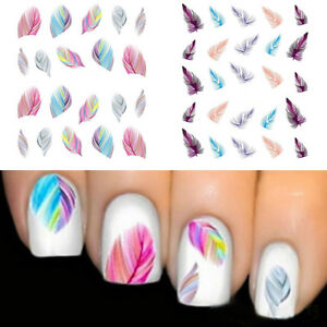 Image Is Loading 1pc Feather Nail Art Water Transfer Decal