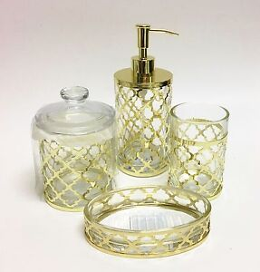New 4 Pc Set Glass Gold Metal Frame Exterior Soap