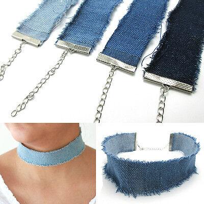 NEW Blue Jean Denim Choker Silver Necklace Chain Women Fashion Punk Jewelry Gift