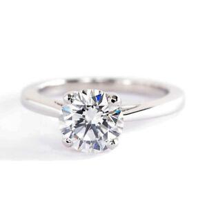 1-50Cts-Vs2-H-Redondo-Cruzado-Anillo-Solitario-Diamante-de-Compromiso-Platino