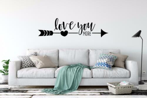 Love You More Vinyl Decal Wall Sticker Lettering Words Decor
