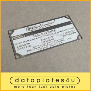 WILLYS-OVERLAND-JEEP-DATA-PLATE-M38-M38A1-NEKAF-M170-PATENTS-PLATE-KAISER-TAG