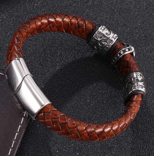 Pulsera caballero de cuero de acero inoxidable cierre magnético señores marrón cruz de plata