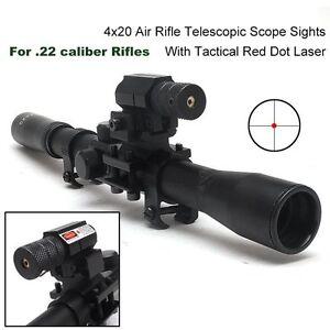 UK4x20-Air-Gun-Rifle-Optics-Scope-20mm-Rail-Mounts-Red-Laser-Sight-For-Hunting