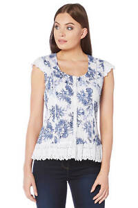 Roman-Originals-Womens-Blue-Floral-Crinkle-Blouse-Sizes-10-20