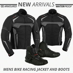 Motorcycle-Motorbike-Mens-Jacket-Waterproof-Textile-CE-Armoured-Boot-Biker-Shoes