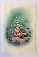 Vintage Coronation Christmas Card Santa Sleep Deer Bunny Squirrel Bird Snow Tree