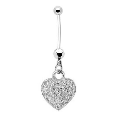 Pregnancy Belly Button Ring Silvertone JEWELED HEART 14g BioFlex and Stainless Steel Navel Piercing Maternity Body Jewelry