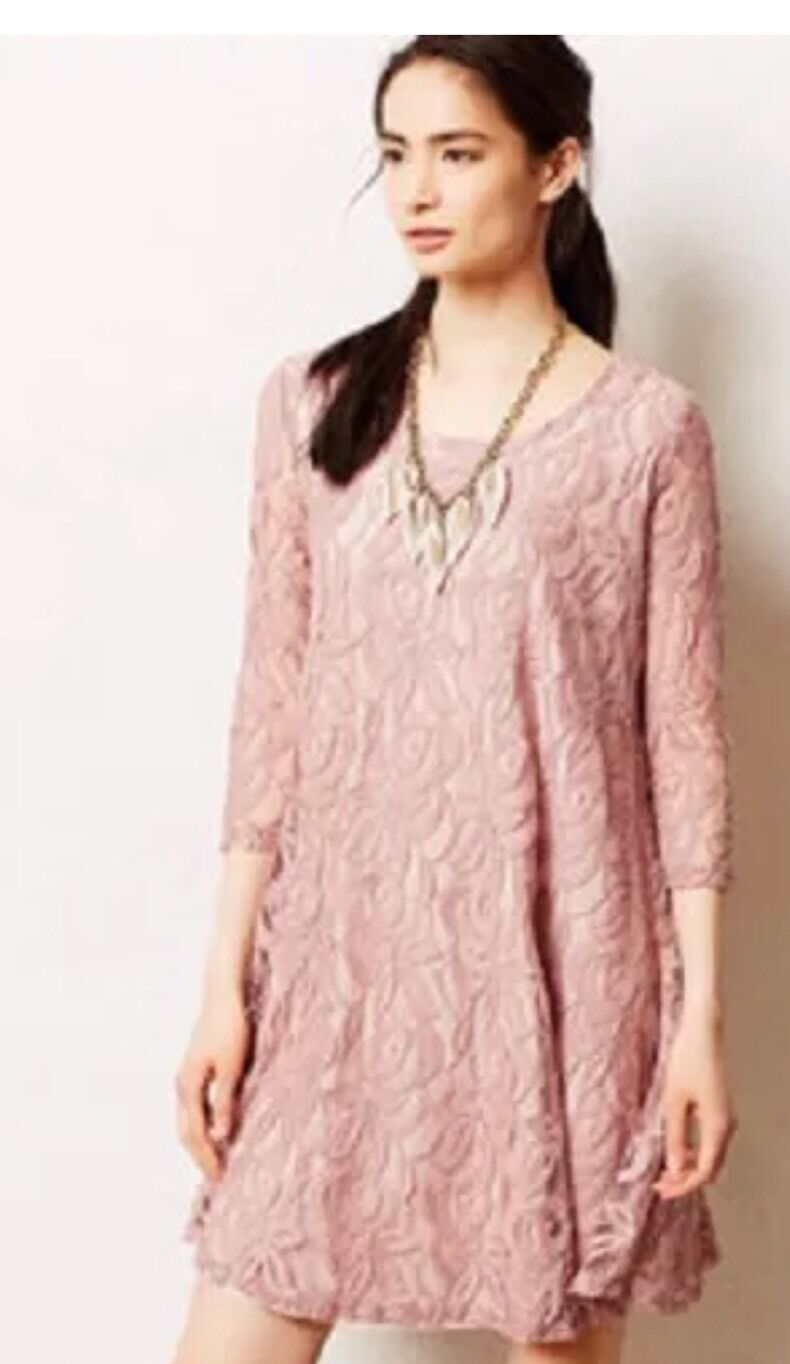 Anthropologie Puella Dusty Rosa Lace Dress Small