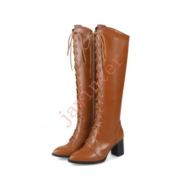 Donna pointy toe lace up riding knee high stivali block mid heel winter stivali new