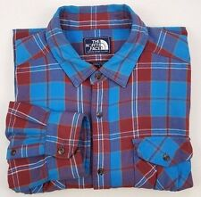 NORTH Face FLANNEL Shirt LARGE Multicolor CHECKED Mens SIZE Blue COTTON Sz A6VQ*