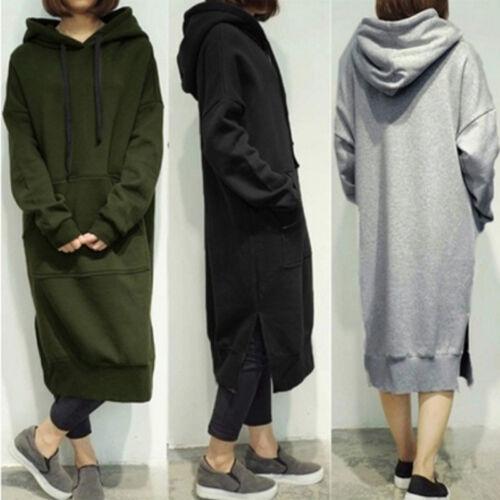 Women Plus Size Long Sleeve Hooded Long Dress Loose Sweatshirt Pullover LG