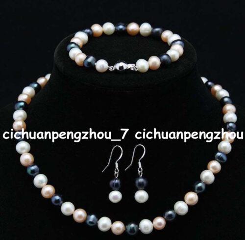 Naturel 7-8 mm blanc rose noir d/'eau douce Perle Collier Bracelet Boucles d/'oreilles Set