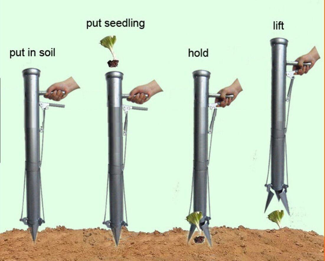 No Bending Hand Manual Planter Trans planter Seeder Seedling Bulb Planting