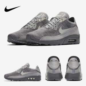 Nike Air Max 90 Ultra 2.0 Flyknit Running Sneakers Grey 875943-007 Sz 4-13