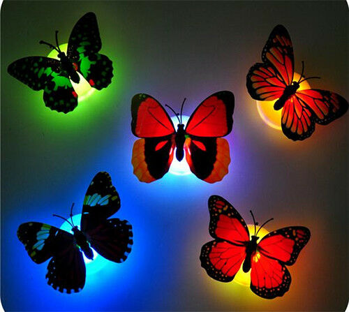 On  Flashing Coloured Night Lights.Gifts Coloured LED Stick Lights Butterfly