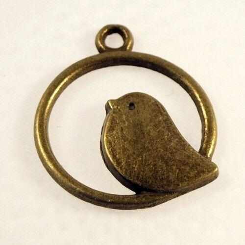 6 pendentifs oiseau dans un cercle en bronze tibétain 2 cm