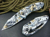 Camo Pocket Knife Saber Clip Folding Lock Blade Survival Belt Clip Metal