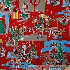 BonEful Fabric FQ Cotton Quilt Red Green Cow*boy Girl Xmas Tree Horse Hat Santa