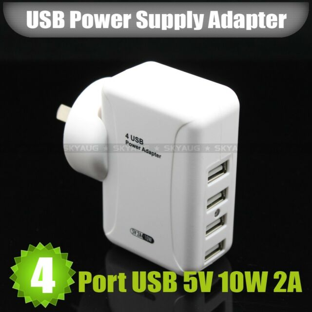 5V 2A 10W 4 Port USB Power Adapter Home Travel Wall Charger With AU Plug