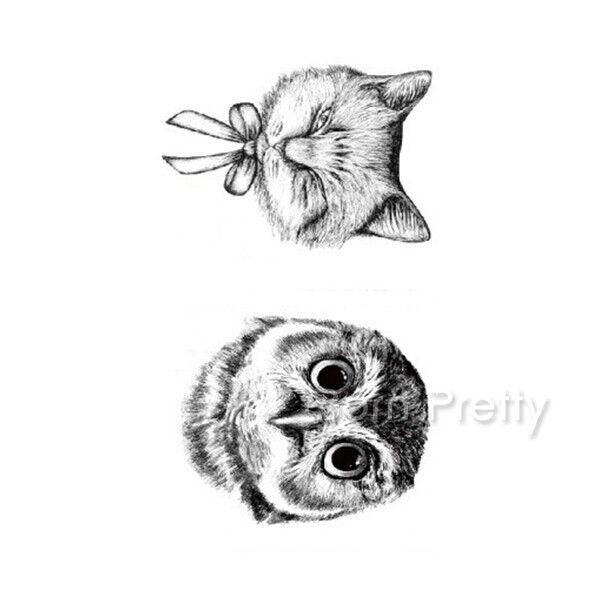 Black Cute Owl Temporary Tattoo Decal Waterproof Body Art New