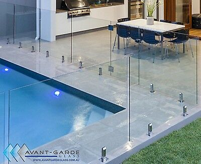 1300x1200x12mm Hinged Panel DIY Frameless Glass Pool Fencing From $158/m Sydney