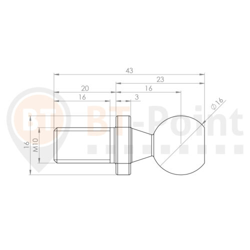 Winkelgelenk CS16 M10 LH Linksgewinde Form CS Sicherungsbügel Kugelgelenk Kugel