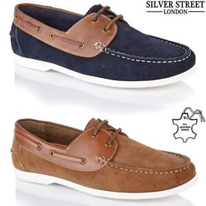 new mens leather lace up casual moccasin loafer driving