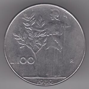 Italy 100 Lire 1980 Stainless Steel Coin  Minerva Standing Holding Olive Tree - Dukinfield, United Kingdom - Italy 100 Lire 1980 Stainless Steel Coin  Minerva Standing Holding Olive Tree - Dukinfield, United Kingdom