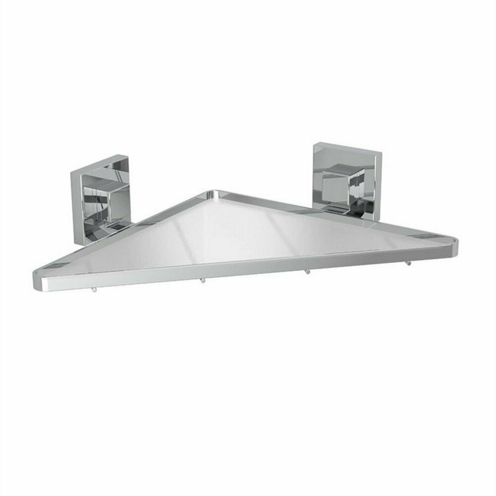 Fusion-Loc 26kg Stainless Steel Suction Frosted Acrylic Corner Shelf