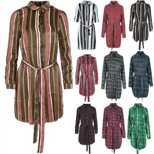 Ladies Belt Khaki Stripe Shirt Dress Womens Collar Button Sleeve Blouse UK 8-14