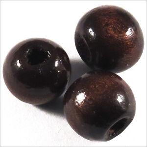 Lot-de-20-Perles-rondes-en-Bois-12mm-Marron-Fonce