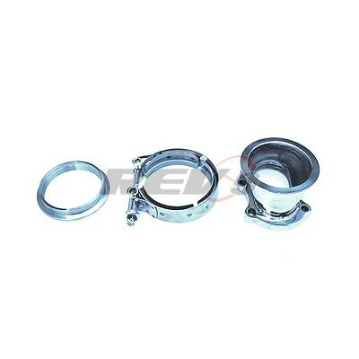 """5 Bolt T25 T28 To 3"""" Inch V-Band Garrett Style Downpipe Adapter Flange Clamp Set"""